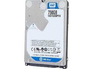 "Western Digital Blue 750GB 2.5"" Laptop Hard Drive - WD7500BPVX"