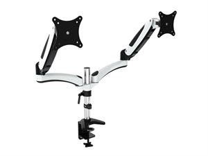 """VisionMounts Aluminium Dual Monitor Arms With Desk Clamp & Gas Spring - Supports up to 27"""" Monitors"""