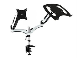 """VisionMounts Aluminium Desk Clamp with Gas Spring Supports Single Monitor up to 27"""" & A Notebook/Laptop - VM-LCD-GM124D-NB"""