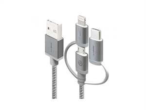 Alogic 1m Prime Series 3-in-1 Charge & Sync Cable - Space Grey