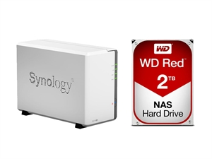 Synology 2 Bay DS216SE NAS + 4TB (2 x 2TB) WD Red NAS HDD Bundle