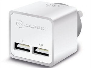 ALOGIC 2 Port USB Mini Wall Charger - White